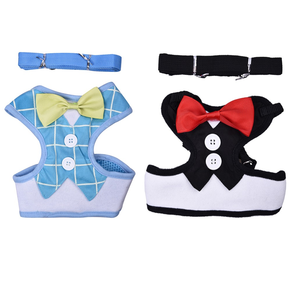 Evening Dress Design Bow Tie Puppy Chest Strap Pet Dog Vest Harnesses with 125cm Leashes Rope For Daily Walking XS/S/M/L 2 Color