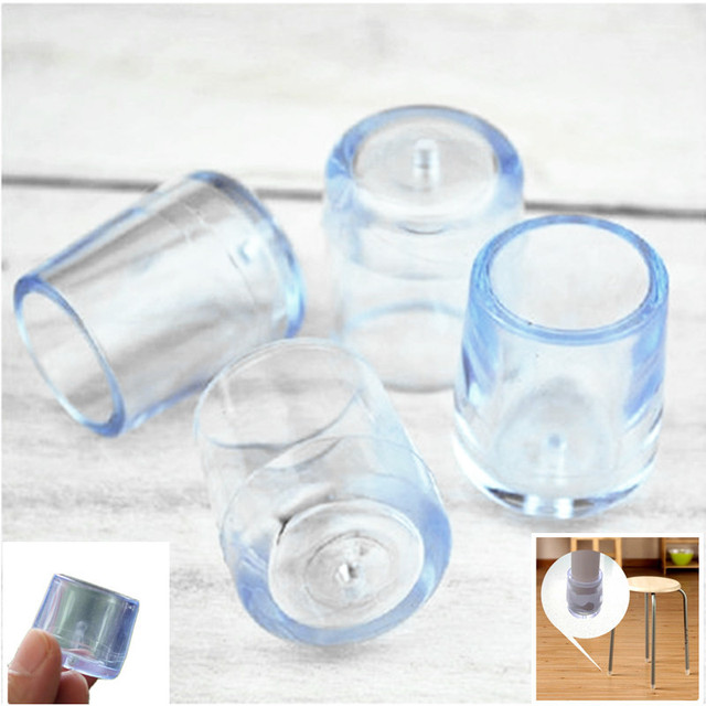 4 Sets 12 7mm Furniture Legs Rubber Clear Silica Plastic Floor Protectors Table Chair Leg Socks Caps V20