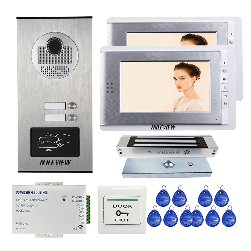 FREE SHIPPING Apartment 7 LCD Video Door Phone Intercom System + RFID Access Outdoor Camera 2 Buttons + Electric Magnetic Lock digital electric best rfid hotel electronic door lock for flat apartment