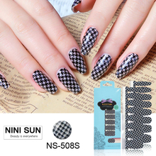 16Tips 100% Real Nail Varnish Nails Art Full Cover Houndstooth Nail Polish Stickers UV Gel Polish Strip Beauty Salon Manicure