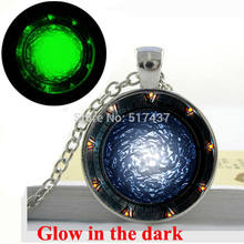 Glow in the dark Necklace Pendant Star gates Portal SG1 Necklace Art Print Glass Dome glowing jewelry Fashion for girl(China)