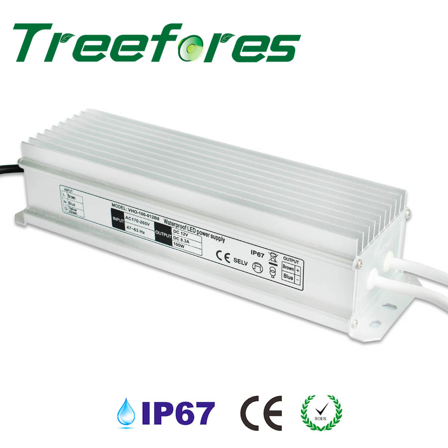 100W IP67 LED Power Supply CE Driver Adapter AC 120V 220V 240V to DC 12V 24V Lighting Transformer 95% Power Factor 24v 8 5a power supply waterproof ip67 adapter ac 96v 240v transformer dc 24v 200w ac dc led driver switching power supply ce fcc