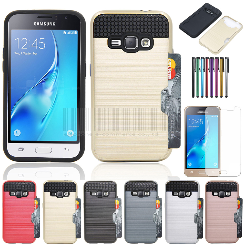 Anti-shock Protective Dual Layer Rubber Brush Armor Card holder Case Cover With Films+Stylus For Samsung Galaxy Express 3