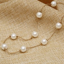 Anti-Allergy Simulated Pearl Necklace Gold Color