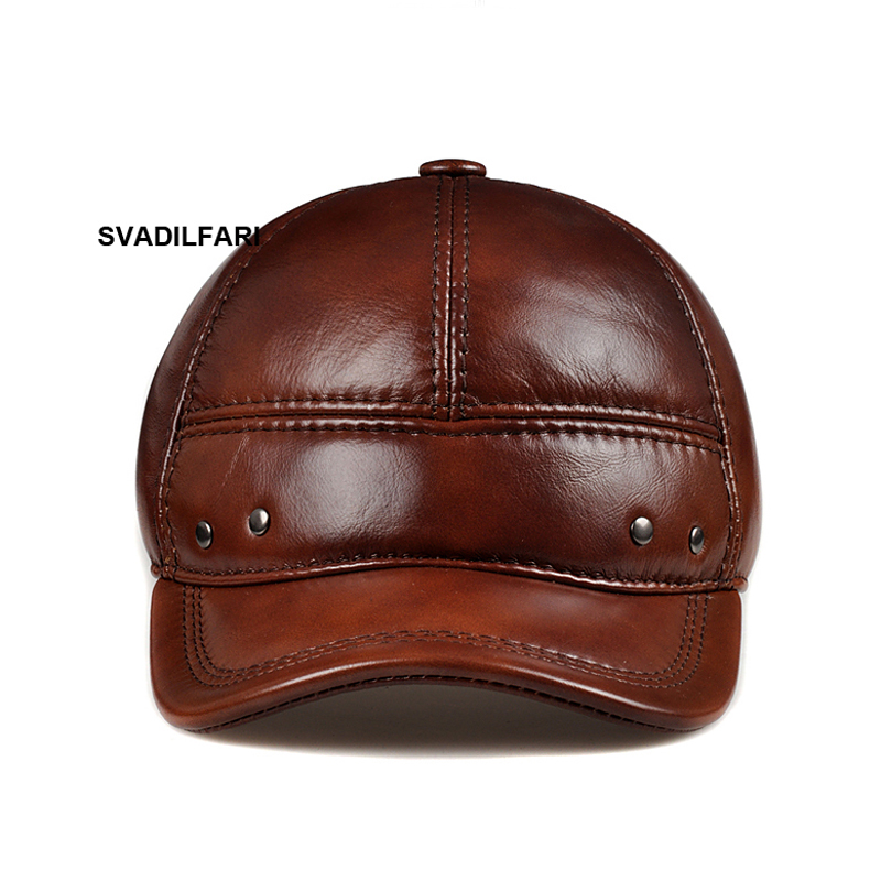 SVADILFARI Wholesale New 2018 Leather baseball cap autumn winter men women cap Cowskin 100% genuine leather hat ear warm cap hot selling magic women s men s winter warm black full face cover three holes mask beanie hat cap wholesale cool accessory
