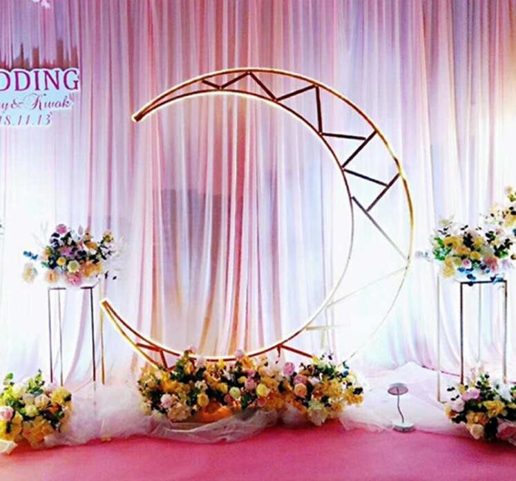Accessoires de mariage nouveau fer forgé arqué porte lune porte fond ornements piste scène décoration scène mise en page