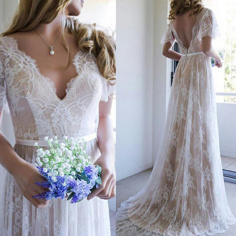Brilliant Tulle V-neck Neckline A-line Champagne Wedding Dresses With Belt France Lace Bridal Dress With Button