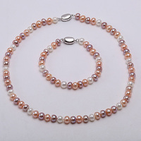 Pearl Sets Multi color Classic 7 7.5 mm Cultured Freshwater Pearl Necklace Bracelet Earrings