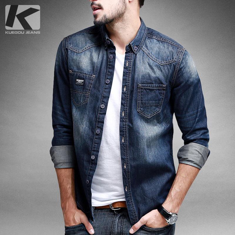 Fashion Men Denim Jeans Shirt Casual Long Sleeve Slim Fit Stylish Wash Jeans Top