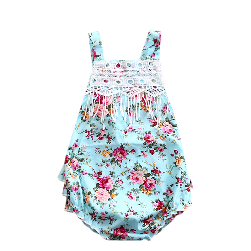 HOT Newborn Baby Rompers Infant Girl Cotton Clothes Summer Floral Romper Sleeveless Cotton Jumpsuit Blue Flower Girls Sunsuit newborn infant baby girl clothes strap lace floral romper jumpsuit outfit summer cotton backless one pieces outfit baby onesie