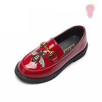 Spring Autumn embroidery baby girls Patent leather skate shoes kids PU casual shoes Children Brand loafers 15.5 22.5cm