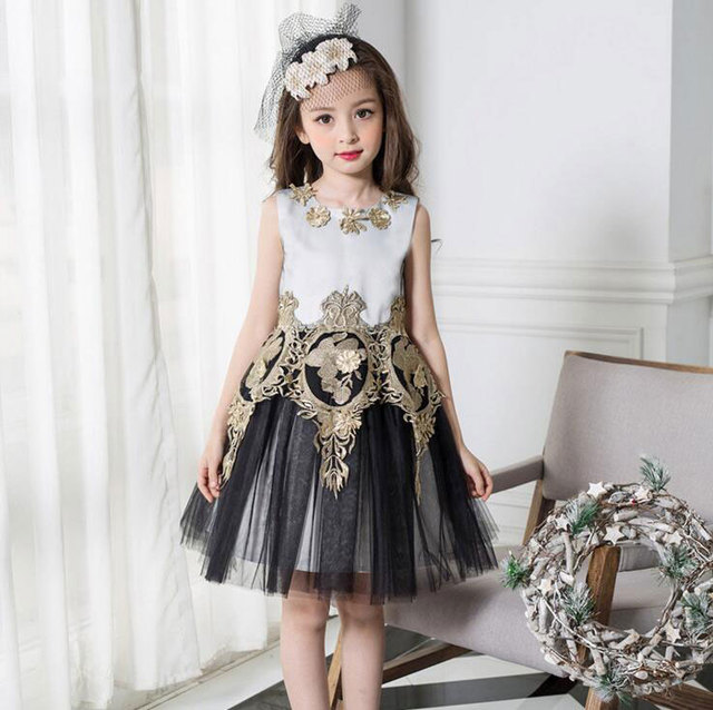 Для детей для младенцев платье с отделкой в виде лепестков для девочек элегантное платье для малышей для подружки невесты пышное платье Vestido Infantil из тюля нарядное вечернее платье