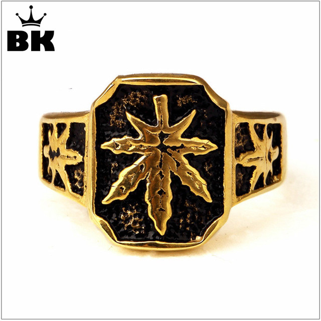 Men s Sport High Polish Gold Toronto Maple Leafs Ring Gold Color Stainless  Steel Hemp Leaf Hip 9675cf60af78