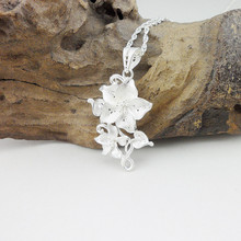 Luxury Jewelry 999 Sterling Silver Pendant Necklace Women Accessories Flower Necklaces Pendants Ethnic Miao Handmade