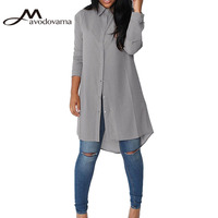 Avodovama M Women Fashion Turn Down Collar Elegant Blouse Shirt Casual Long Sleeve Solid Chiffon Tops