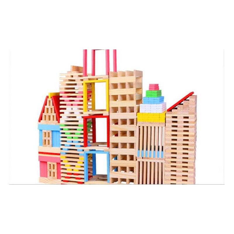 Enfants coloré arc-en-ciel en bois dominos jouet empilement bloc de construction jeu bébé éducatif culbuteur empilé tour Jenga kid