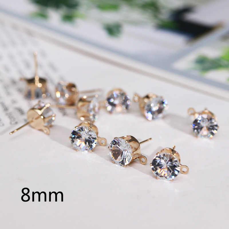 10 pcs Zirkon Kristal Kulak Damızlık Bulguları Ile Delik Kulak Damla Altın Gümüş Renk 6/8mm Kadınlar Kız diy Küpe Brincos Takı yapımı