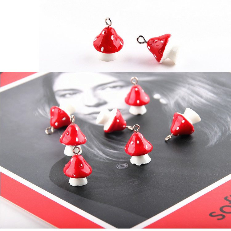 10pcs 3D Mushroom Resin Charms DIY Craft fit for Bracelet  Jewelry Finding handmade 15*22mm 1