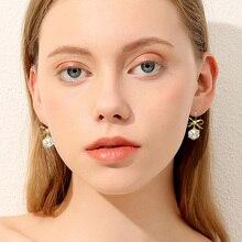 Luxury Earring for Women Fashion Crystal Ball Bow-knot Geometric Hanging Dangle Earrings 2019 New Gold Drop Jewelry