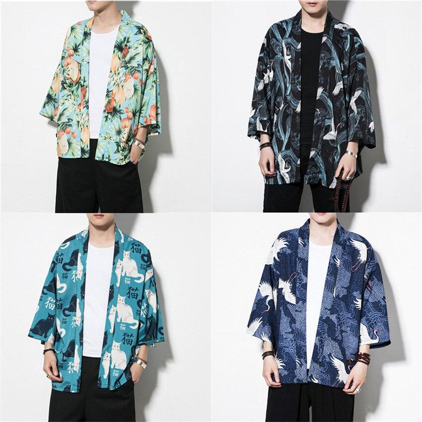 6Colors Traditional Japanese Kimono Coat For Male Cotton Haori Yukata Man Fashion Print Summer Sunscreen Shirt Cardigan