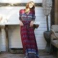 Primavera outono mulheres sexy botão frontal de impressão floral maxi dress feminino longo party dress estilo boho bohemian v profundo vesitos N124