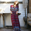 spring autumn women sexy floral print front button maxi dress female long party dress boho style bohemian deep V vesitos N124