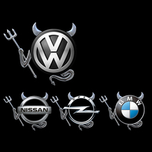 3D Chrome Devil Decal Car or Truck Custom Demon Stickers W/ Horns car styling VW accessories funny sticker