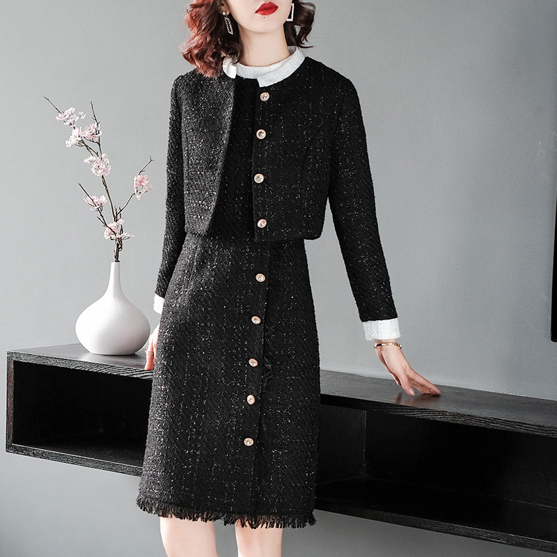 2018 Winter Elegant 2 Pieces Tweed Women Sets High Quality Hot Short Jacket Sleeveless Single breasted