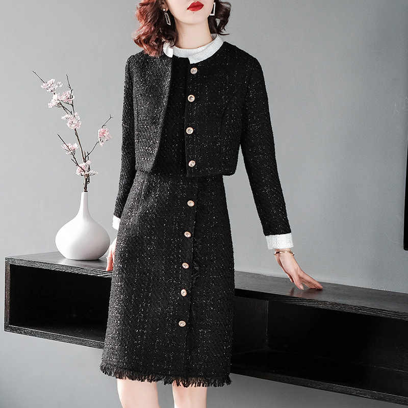 2018 Winter Elegant 2 Pieces Tweed Women Sets High Quality Hot Short Jacket +Sleeveless Single-breasted Dress Slim Suits