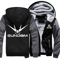 New Men's Thicken Hoodie Winter Zipper Jacket Anime Gundam Printed Sweatshirts Coat Long Sleeve Casual Unisex Fleece Hooded
