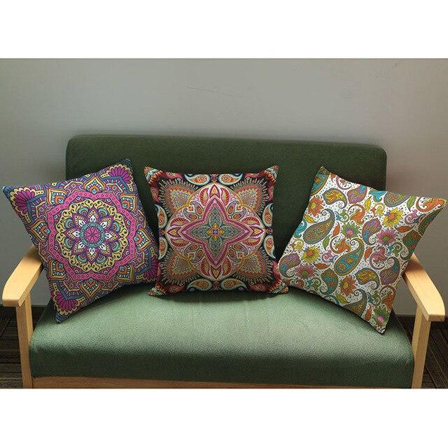 Purple Mandala Flower Pattern Cushion Cover Indian Thailand Buddism