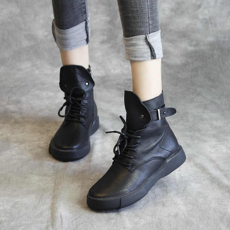 Artdiya orijinal sonbahar ve kış yarım çizmeler 2019 yeni Martin çizmeler el yapımı hakiki deri moda siyah kadın botları 239-10