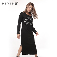 MIYING 2017 New Dress Casual Letter Printed Black Sport Dress