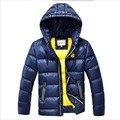 2016 Meninos Casacos de Inverno Outerwear Moda Com Capuz Parkas Wadded Jaquetas Engrossar Quente Roupa Exterior Para 7-16 T Meninos alta Qualidade