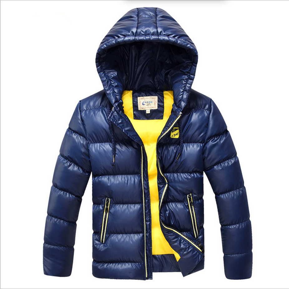 7-16 år Børn Drenge Vintercoatjakke Fashion Hooded Parkas Wadded Outerwear Thicken Warm Outer Clothing 2018 High Quality