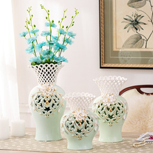 tabletop modern handmade hollow carving ceramic flower vase gold painting home decoration gift