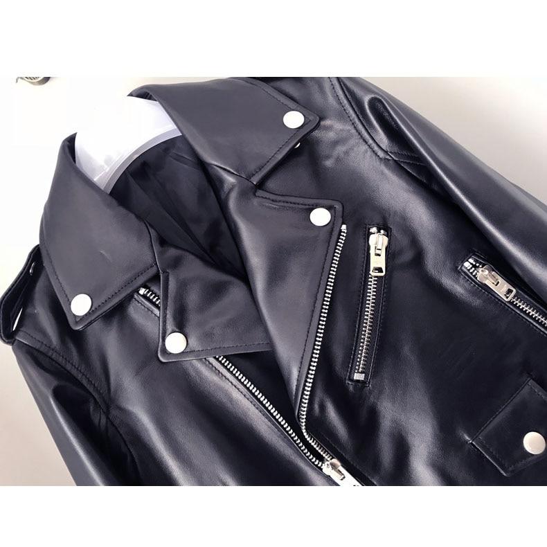 Survêtement Noir Cuir Peau Femmes Manteau Bomber Mode Réel Veste Printemps Femelle De Véritable Biker Texiwas Mouton Court En Iq6anF