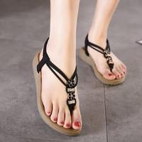 2018 New Bohemian Women Sandals Crystal Flat Heel Sandalias Rhinestone Chain Women Shoes Thong Flip Flops