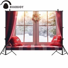 Allenjoy photography backdrop Christmas window wreath winter snow background photocall photoshoot prop custom photobooth