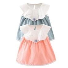 Cute Cartoon Little Fox Baby Girl Dress 2017 Kids Girl Lace Collar Cotton Sleeveless Princess Dresses