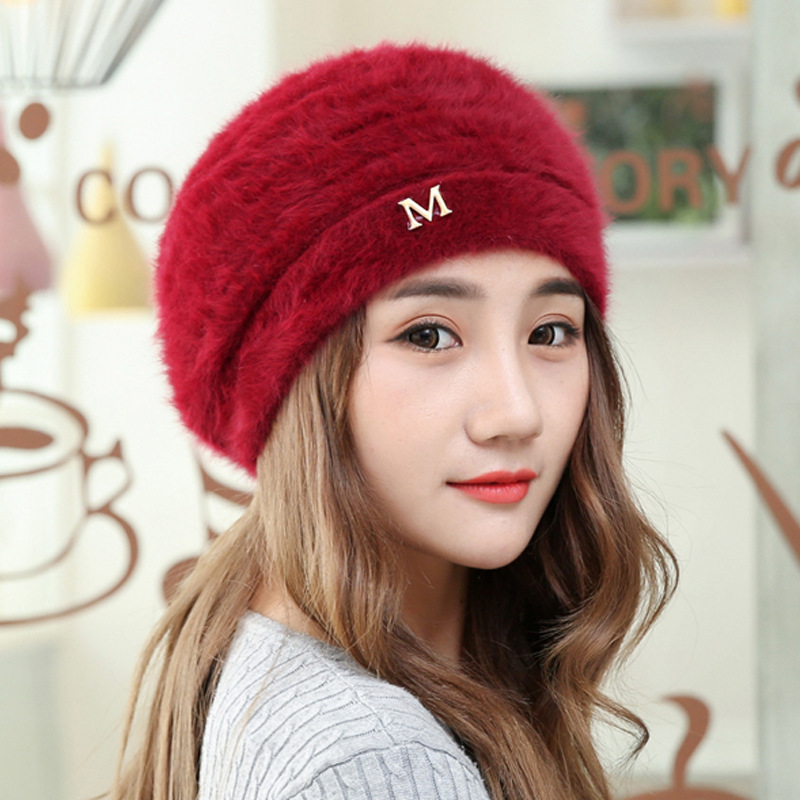 free shipping 2017 new fashion winter high quality acrylic hat knitted hat bonnet ladies casual cap for women ladies Winter Female Cap 50% Acrylic 50% Rabbit Fur Knitted Hat for A Girl High Quality Fashion Casual Style Letter M Women's Caps