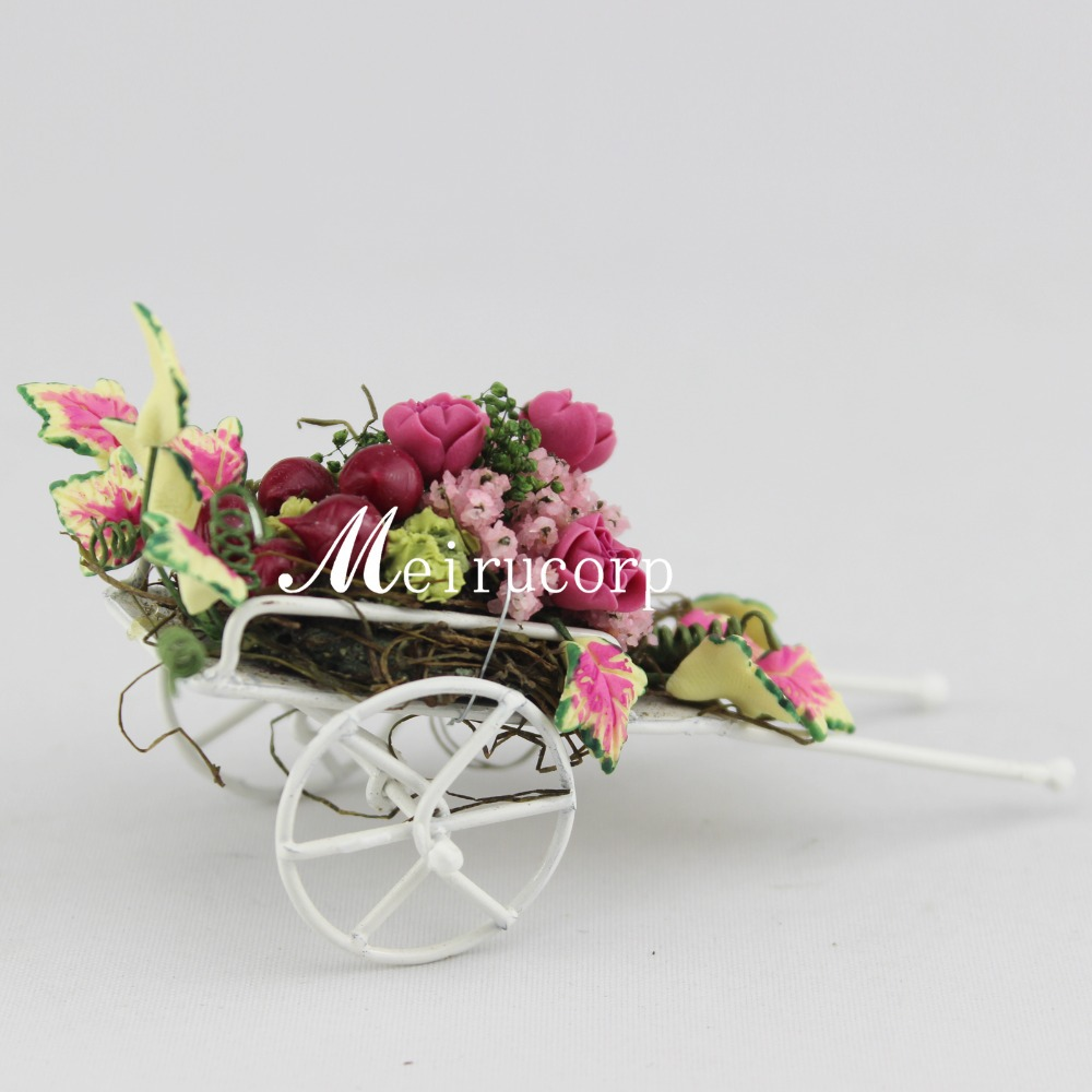 Wholesale Fine Dollhouses 1:12 Scale Mini Flowers Cart