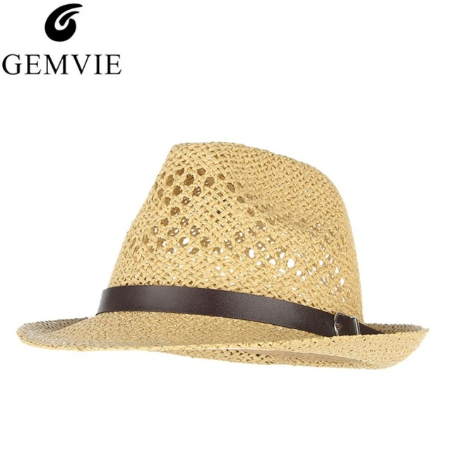 Vintage Men Summer Hat Hollow Out Breathable Straw Hats With Belt Women  Beach Sun Cap Visor Trilby Jazz Cap Panama 44ba6bcb60b