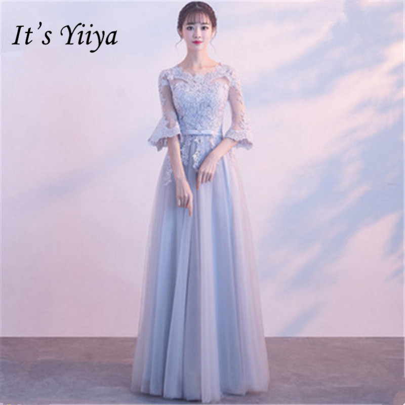 It's YiiYa Fashion Flare Sleeve Gray   Bridesmaid     Dresses   Elegant Back Lace Up A-line Slim Ankle-length   Dress   B048