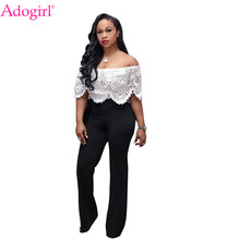 430939489e2de (Ship from US) Adogirl Lace Crochet Hollow Out Off Shoulder Jumpsuit Sexy  Slash Neck Ruffle White Top Black Wide Leg Pants Women Romper Overall