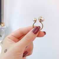 Hot famous brand replica party jewelry maked letter ring open size small big double pearl ring wedding gift