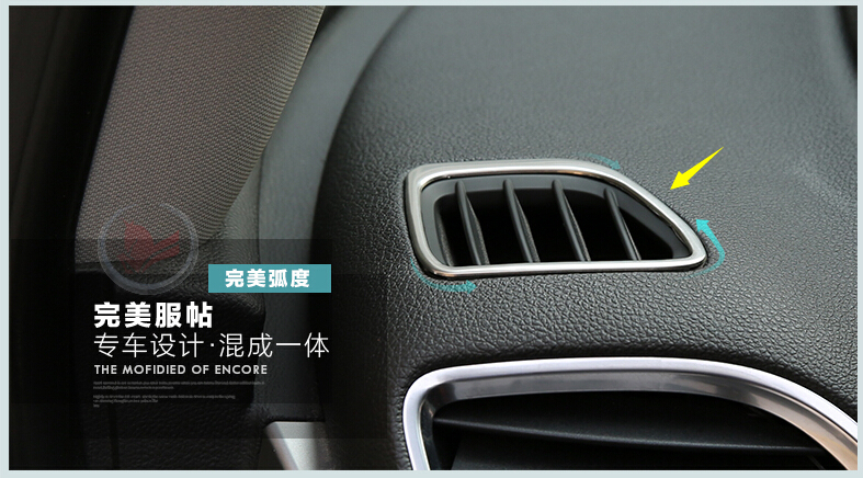 For Vauxhall / OPEL Mokka / BUICK ENCORE 2013 2014 2015 Stainless Steel Dashboard Front Air AC Vent Outlet Cover Trim 2 Pcs