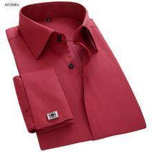 Aoyouku 2018 Brand Spring Autumn Mens French Cufflinks Long Sleeve Casual Business Shirts