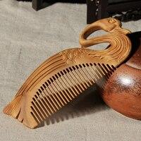 Прямая поставка, выгравированный вручную зеленый сандалового дерева гребень для волос Fox Лебедь массажные расчески Винтаж волос кисть, уст