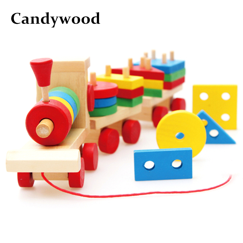 Candwood Wooden 3-Part Train Toys Stacking Shape Geometry Blocks Big Size Train Set Combination Montessori Toys Children Gift 50pcs hot sale wooden intelligence stick education wooden toys building blocks montessori mathematical gift baby toys
